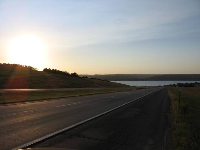 Lake near sunset outside Kimball, SD