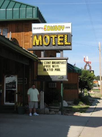 Gus in front of the Cowboy Inn