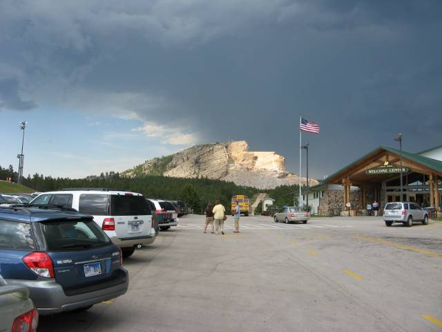 The Crazy Horse Memorial in the distance