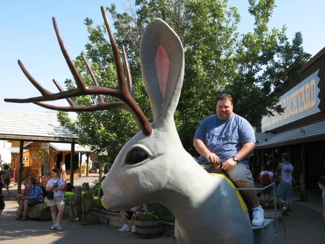 Gus on giant jackalope