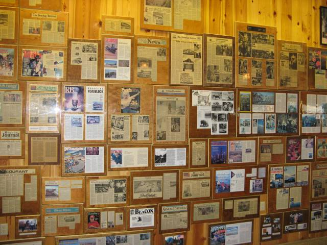 Press articles about Wall Drug cover one wall