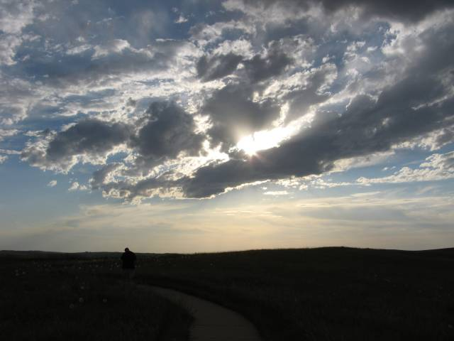 Gus and sky at Little Bighorn Battlefield